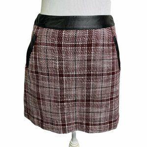 Frenchi Burgundy Checkered Leather Trim Skirt